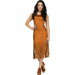 Fringe Dress Brúnn...